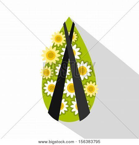 Memorial wreath icon. Flat illustration of memorial wreath vector icon for web