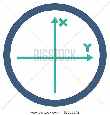 Cartesian Axis vector bicolor rounded icon. Image style is a flat icon symbol inside a circle, cobalt and cyan colors, white background.