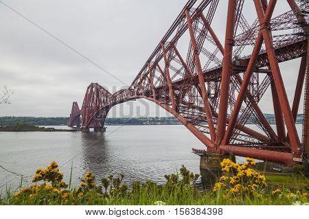 Forth Rail Bridge and Firth of Forth near Edinburgh Scotland
