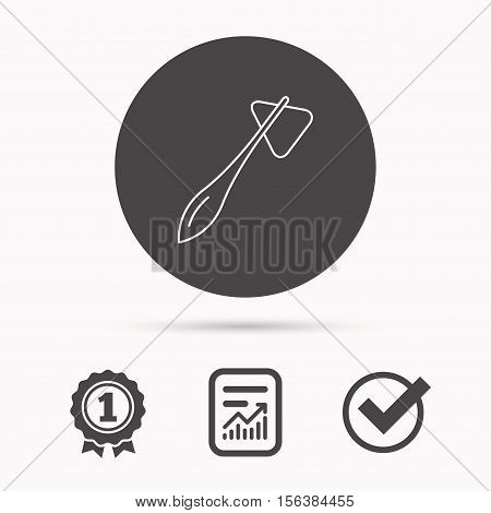 Reflex hammer icon. Doctor medical equipment sign. Nervous therapy tool symbol. Report document, winner award and tick. Round circle button with icon. Vector