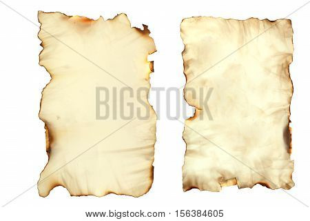 Photo image of an old paper sheet isolated on white grunge burnt antique paper texture empty old treasure map template