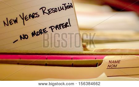 Paper Free Office New Years Resolution to take control of overwhelming paper and scan old documents in filing cabinet