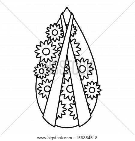 Memorial wreath icon. Outline illustration of memorial wreath vector icon for web