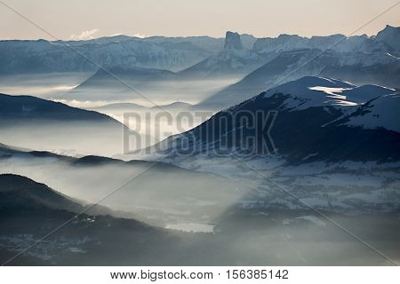 High mountain landscape in hazy weather