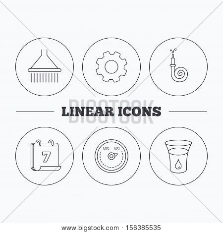Shower, fire hose and heat regulator icons. Glass of water linear sign. Flat cogwheel and calendar symbols. Linear icons in circle buttons. Vector