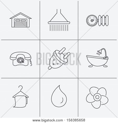 Ventilation, heat radiator and electric plug. Retro phone, shower and garage linear signs. Water drop, bath towel icons. Linear icons on white background. Vector