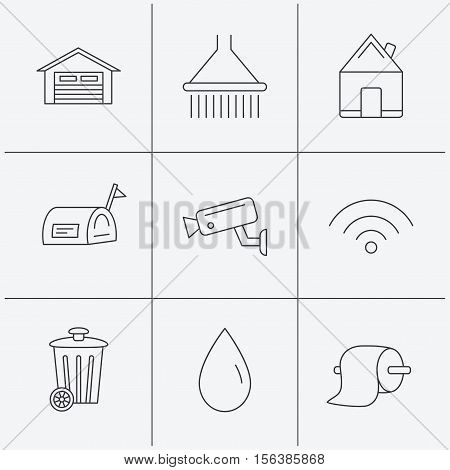 Wi-fi, video monitoring and real estate icons. Toilet paper, shower and water drop linear signs. Trash, garage flat line icons. Linear icons on white background. Vector