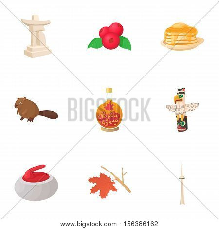 Holiday in Canada icons set. Cartoon illustration of 9 holiday in Canada vector icons for web