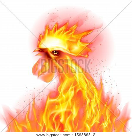 Silhouette of Head Red Cock. Fire Rooster Symbol of the New Year by Chinese Calendar. Christmas Card New Years design on White