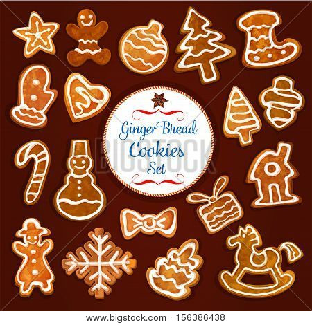 Christmas gingerbread cookie set. Sweet ginger biscuit xmas tree, candy cane, man, star, bauble ball, gift box, snowman, stocking sock, snowflake, house, glove, heart and rocking horse with icing
