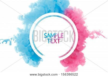 Color paint splash background liquid cloud ink abstract isolated. Color smoke abstract template design. Ink swirling drop in water isolated on white background. Pink and blue.