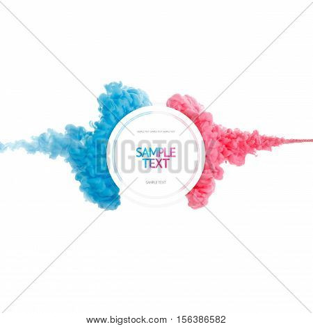 Color paint cloud abstract liquid splash. Color smoke underwater design. Ink swirling in water. Ink drop in water isolated on white background. Abstract template. Pink and blue.