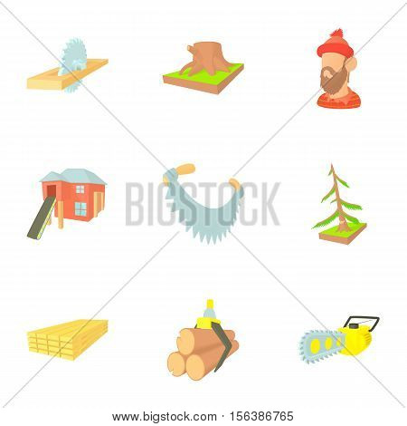 Felling icons set. Cartoon illustration of 9 felling vector icons for web