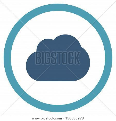 Cloud vector bicolor rounded icon. Image style is a flat icon symbol inside a circle, cyan and blue colors, white background.
