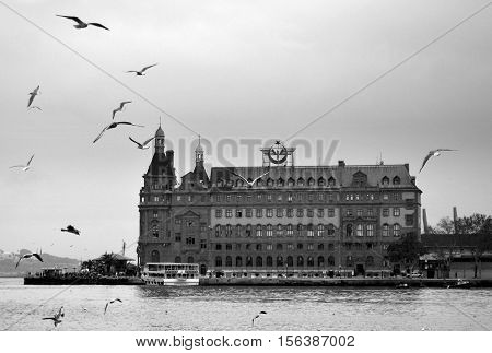 Istanbul Turkey - November 18 2012: Istanbul Haydarpasa Terminal or Haydarpasa Terminus (Turkish: Haydarpasa Gari) is a railway terminal in Istanbul. Until 2012 the station was a major intercity regional and commuter rail hub as well as the busiest railwa