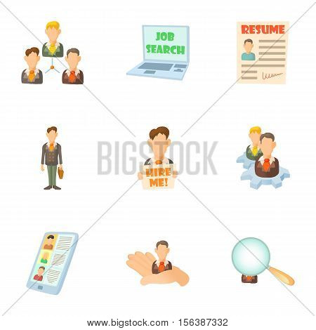 Job search icons set. Cartoon illustration of 9 job search vector icons for web