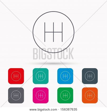Manual gearbox icon. Car transmission sign. Linear icons in squares on white background. Flat web symbols. Vector