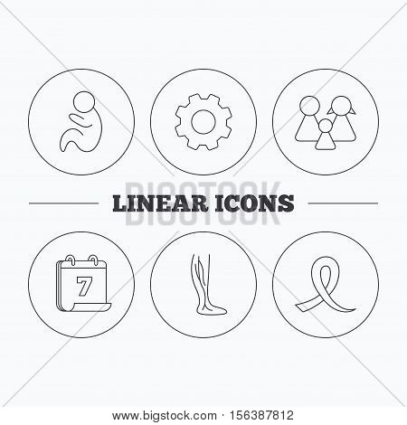 Family, pediatrics and phlebology icons. Oncology awareness ribbon linear sign. Flat cogwheel and calendar symbols. Linear icons in circle buttons. Vector
