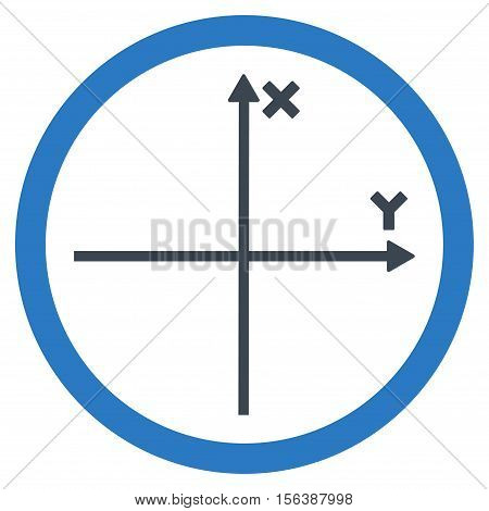 Cartesian Axis vector bicolor rounded icon. Image style is a flat icon symbol inside a circle, smooth blue colors, white background.
