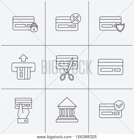 Bank credit card icons. Banking, blocked and expired debit card linear signs. Money transactions and shopping icons. Linear icons on white background. Vector