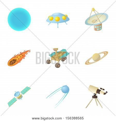Cosmos icons set. Cartoon illustration of 9 cosmos vector icons for web