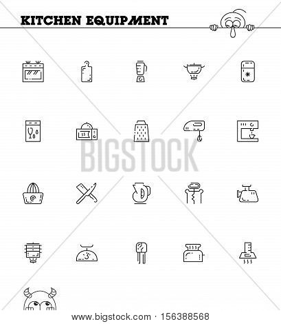 Kitchen equipment flat icon set. Collection of high quality outline symbol of kitchen devices for web design, mobile app. Vector thin line vector icons or logo of oven, blender, dishwasher, pan, etc.