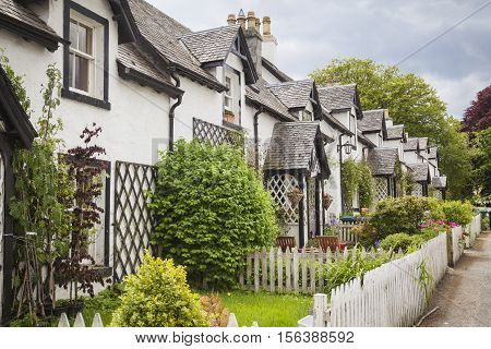 Old cottages in Kenmore in the highlands Scotland