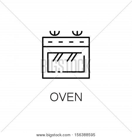 Oven flat icon. Single high quality outline symbol of kitchen equipment for web design or mobile app. Thin line signs of oven for design logo, visit card, etc. Outline pictogram of oven.