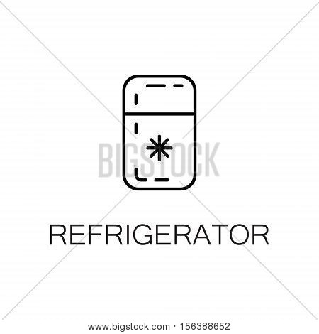 Refrigerator flat icon. Single high quality outline symbol of kitchen equipment for web design or mobile app. Thin line signs of refrigerator for design logo, visit card, etc. Outline pictogram of refrigerator.