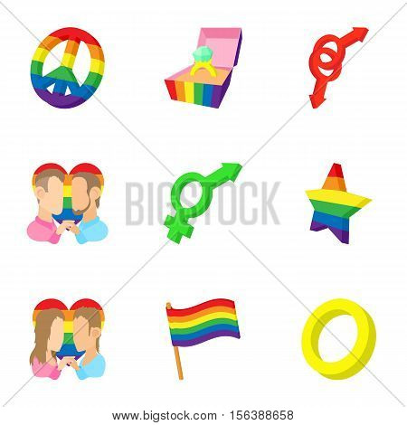 Gays and lesbians icons set. Cartoon illustration of 9 gays and lesbians vector icons for web