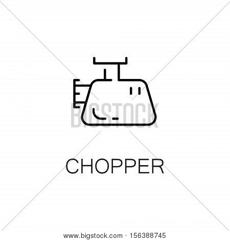 Chopper flat icon. Single high quality outline symbol of kitchen equipment for web design or mobile app. Thin line signs of chopper for design logo, visit card, etc. Outline pictogram of chopper