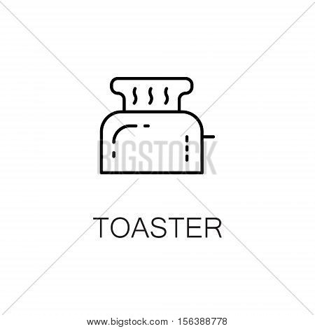 Toaster flat icon. Single high quality outline symbol of kitchen equipment for web design or mobile app. Thin line signs of toaster for design logo, visit card, etc. Outline pictogram of toaster