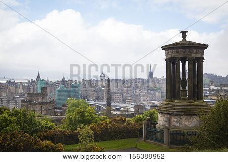 Edinburgh City and Castle Scotland viewed from Calton Hill