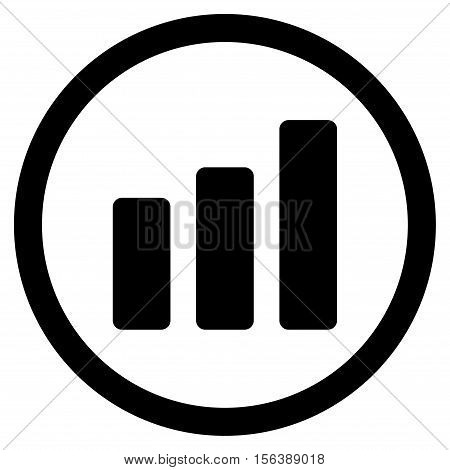 Bar Chart Increase vector rounded icon. Image style is a flat icon symbol inside a circle, black color, white background.