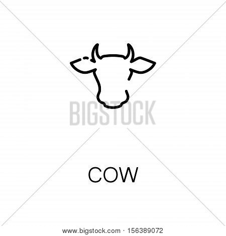 Cow flat icon. Single high quality outline symbol of animal for web design or mobile app. Thin line signs of cow for design logo, visit card, etc. Outline pictogram of cow