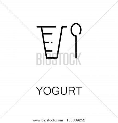 Yogurt flat icon. Single high quality outline symbol of milk food for web design or mobile app. Thin line signs of yogurt for design logo, visit card, etc. Outline pictogram of yogurt