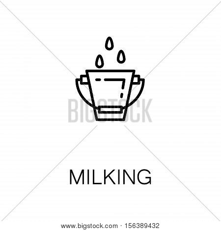 Milking flat icon. Single high quality outline symbol of milk food for web design or mobile app. Thin line signs of milking for design logo, visit card, etc. Outline pictogram of milking
