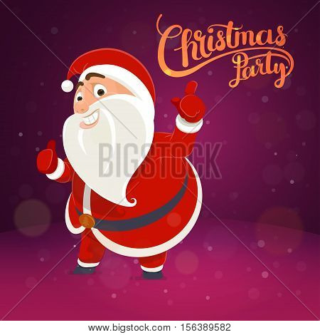 Santa Claus points on the inscription card concept Christmas poster lettering idea Holiday party