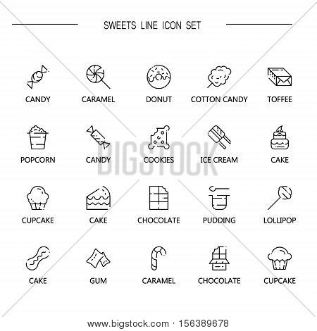 Sweets flat icon set. Collection of high quality outline symbol of sweets food for web design, mobile app. Vector thin line vector icons or logo of chocolate, pudding, cake, candy, cookies, etc.