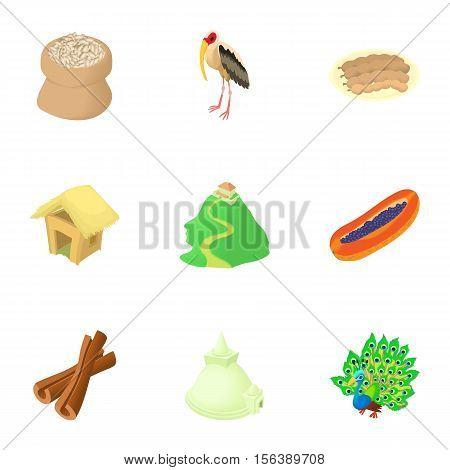 Country Sri Lanka icons set. Cartoon illustration of 9 country Sri Lanka vector icons for web