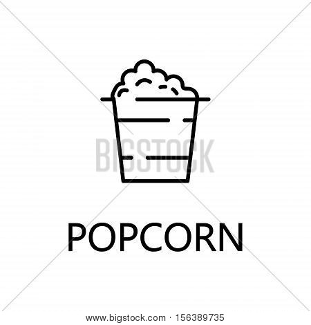 Popcorn flat icon. Single high quality outline symbol of sweets for web design or mobile app. Thin line signs of popcorn for design logo, visit card, etc. Outline pictogram of popcorn