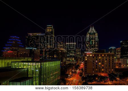 Downtown Austin Cityscape At Night