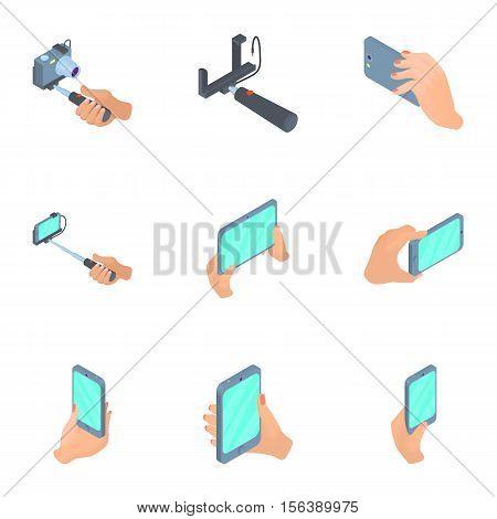 Photo mobile phone icons set. Cartoon illustration of 9 photo mobile phone vector icons for web