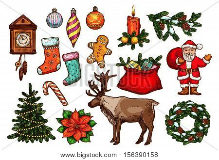 Christmas and New Year holiday symbol set. Sketched Santa, gift bag, xmas tree with lights, candy cane, pine wreath, candle, bauble ball, stocking sock, gingerbread man, clock, poinsettia and reindeer