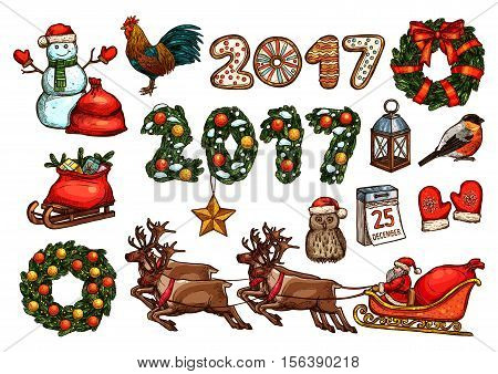 Christmas and New Year sketch set of Santa with gift in reindeer sleigh, present box in red bag, snowman, xmas tree wreath and number 2017 with star, ball, bow, gingerbread, calendar, rooster, owl