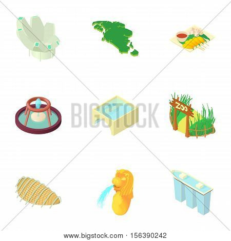 Singapore icons set. Cartoon illustration of 9 Singapore vector icons for web