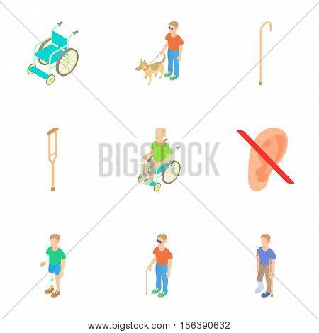 Disability people icons set. Cartoon illustration of 9 disability people vector icons for web