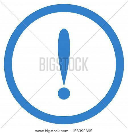 Exclamation Sign vector rounded icon. Image style is a flat icon symbol inside a circle, cobalt color, white background.
