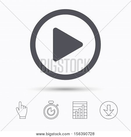 Play icon. Audio or Video player symbol. Stopwatch timer. Hand click, report chart and download arrow. Linear icons. Vector