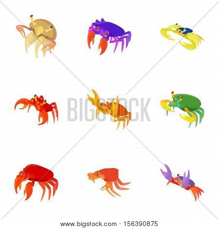 Lobster icons set. Cartoon illustration of 9 lobster vector icons for web